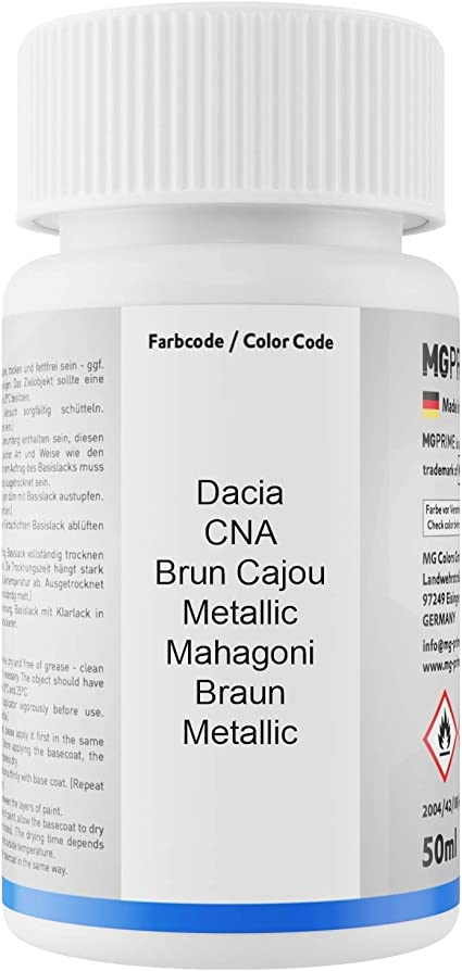 Mg Prime Autolack Lackstift Set Für Dacia Cna Brun Cajou Metallic Mahagoni Braun Metallic Basislack Klarlack Je 50ml Auto