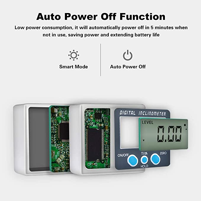 Multi-functional Digital Inclinometer Zinc Alloy Shell 360/° Electronic Protractor Mini Digital Angle Gauge with Magnet