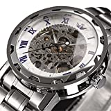 ALPS Men's Classic Skeleton Stainless Steel Mechnical Hand Wind Watch