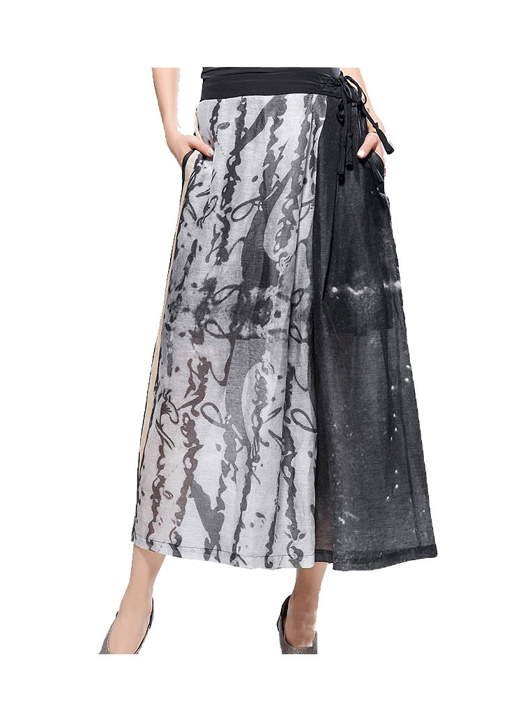 ARTOULAN Designer Summer Ladies Black Linen and Silk Strape Waist Loose Wide Leg Trousers