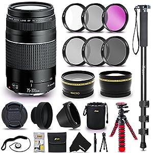 "Canon EF 75-300mm f/4-5.6 III Autofocus Zoom Lens + 58mm Wide Angle/Telephoto Lens Lens Filter Accessories Bundle Kit (UV FLD CPL ND) + 72"" Monopod + 12"" Flexible Tripod + Lens Hood + More"