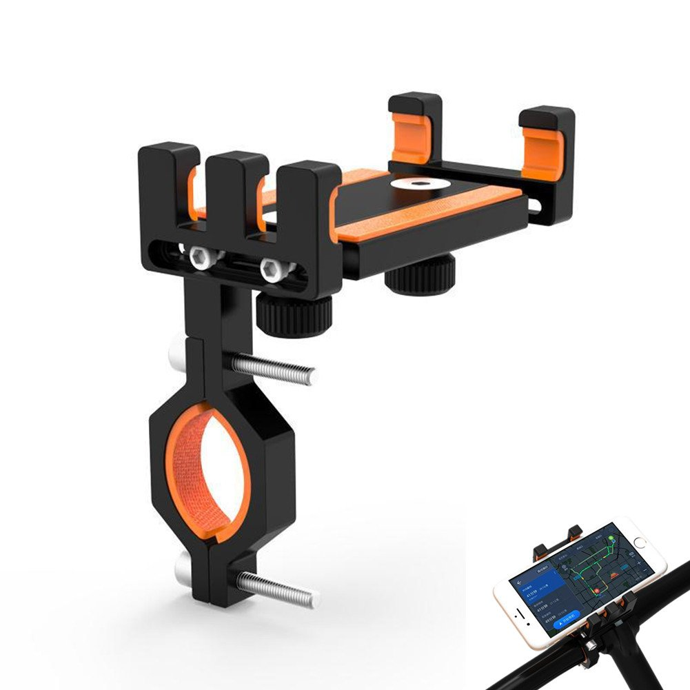 Leagway Motorcycle Bicycle Phone Mount, Adjustable Aluminum Alloy Bike Handlebar Motorbike Cell Phone Holder Cradle For iPhone X 8 7 6 6s Plus Android Samsung Galaxy S6 S7 S8 S9 Nexus HTC LG (Orange)
