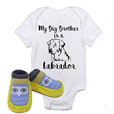 d60a89a0972 My Big Brother is a Labrador Lab Onesie W Yellow Owl Shoes Best Baby Gift