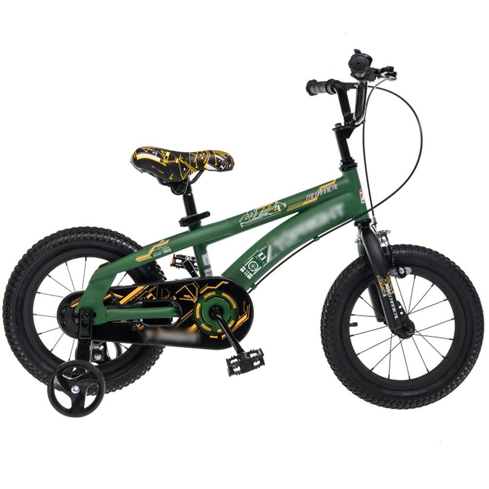YANGFEI 子ども用自転車 子供用自転車ベビーキャリッジ12/14/16/18インチマウンテンバイクグリーンレッド高炭素鋼材セキュリティ保護 212歳 B07HJ6WVFQ 12 inch|Green Green 12 inch