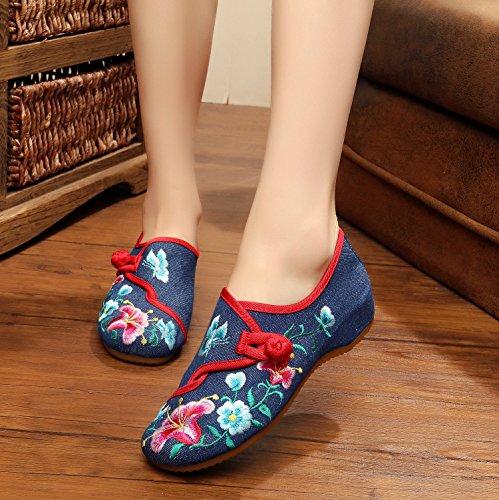tela baile de c¨®modo estilo de tend¨®n Zapatos blue xiuhuaxie moda zapatos ¨¦tnico femenina GuiXinWeiHeng de bordados zapatos lenguado xwSvzfafq