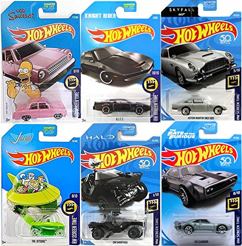 Price comparison product image Hot Wheels Screen Time 6 car Set 2018 James Bond Aston Martin 007 Skyfall / The Simpsons Pink Family Car / Knight Rider K.I.T.T / One Warthog Halo Jeep / Fast & Furious Ice charger + Jetsons Capsule