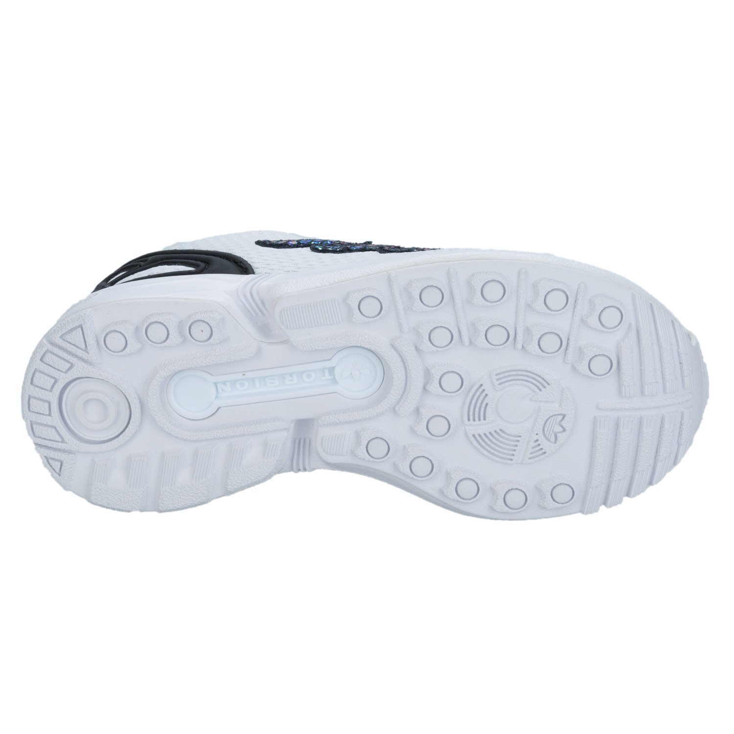 08d12f5c788d7 adidas Children Girls Originals Zx Flux Metallic Snake Trainers in White   Amazon.co.uk  Shoes   Bags