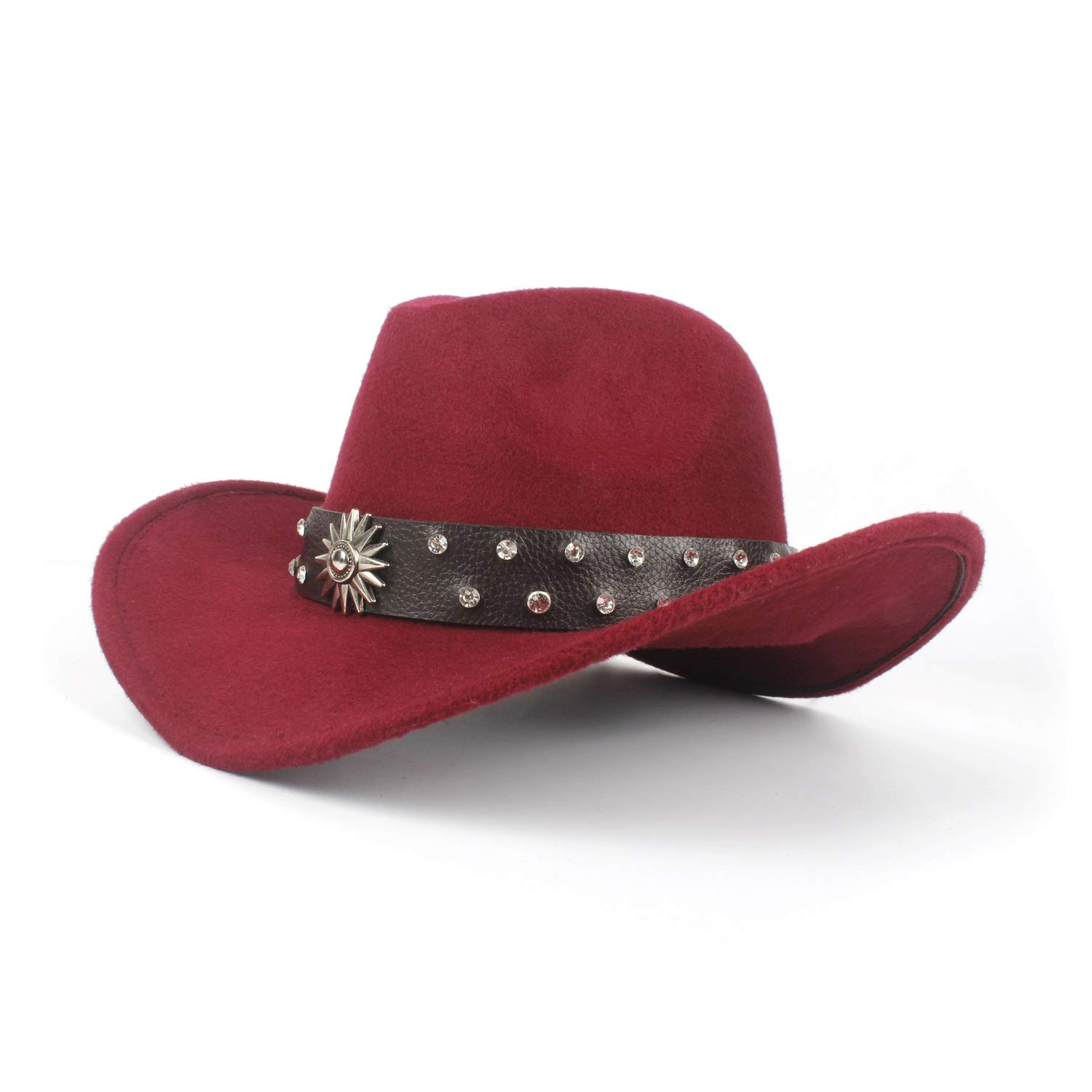 XIANGBAO-Hat Personality Fashion Mens Womens Western Cowboy Hat for Gentleman Dad Cowboy Hat Solid Diamond Hombre