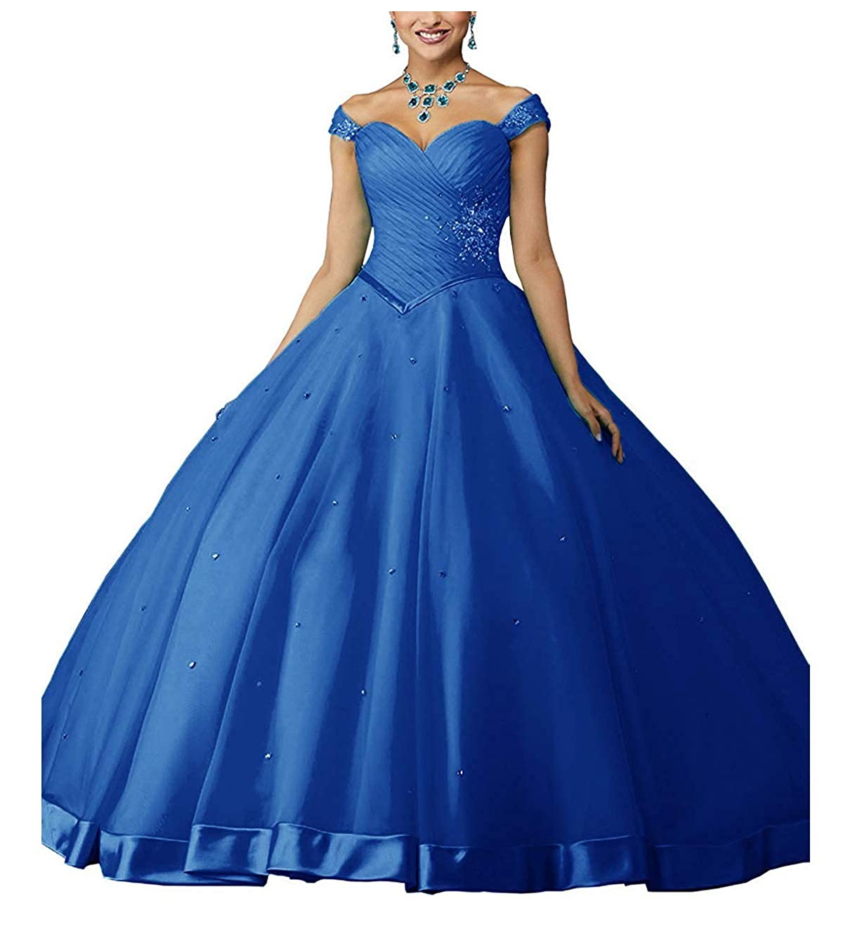 bluee ZLQQ Women's Beaded Ball Gown Lace Applique Sweet 16 Detachable Quinceanera Dress