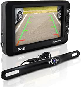 """Pyle Wireless Backup Car Camera Rearview Monitor System - Parking & Reverse Safety Distance Scale Lines, Waterproof & Night Vision Cam, 4.3"""" LCD Screen Video Color Display for Vehicles - (PLCM4375WIR)"""