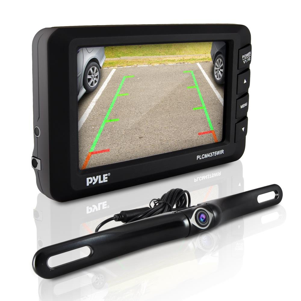 Pyle Wireless Backup Car Camera Rearview Monitor System - Parking & Reverse Safety Distance Scale Lines, Waterproof & Night Vision Cam, 4.3'' LCD Screen Video Color Display for Vehicles - (PLCM4375WIR)