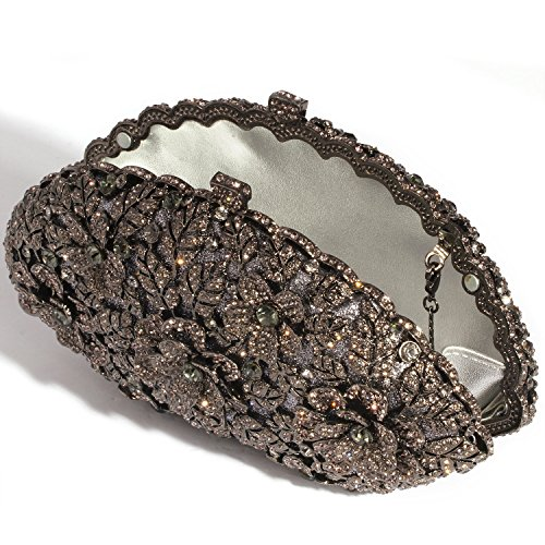 Digabi Shell Shape Women Bags Clutch Plated Evening Crystal Gunblack Crystal Flowers Black Flowers EwSrqw