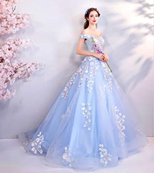WJZ Vestido De Boda De La Novia del Hombro De La Palabra del Hombro Azul De