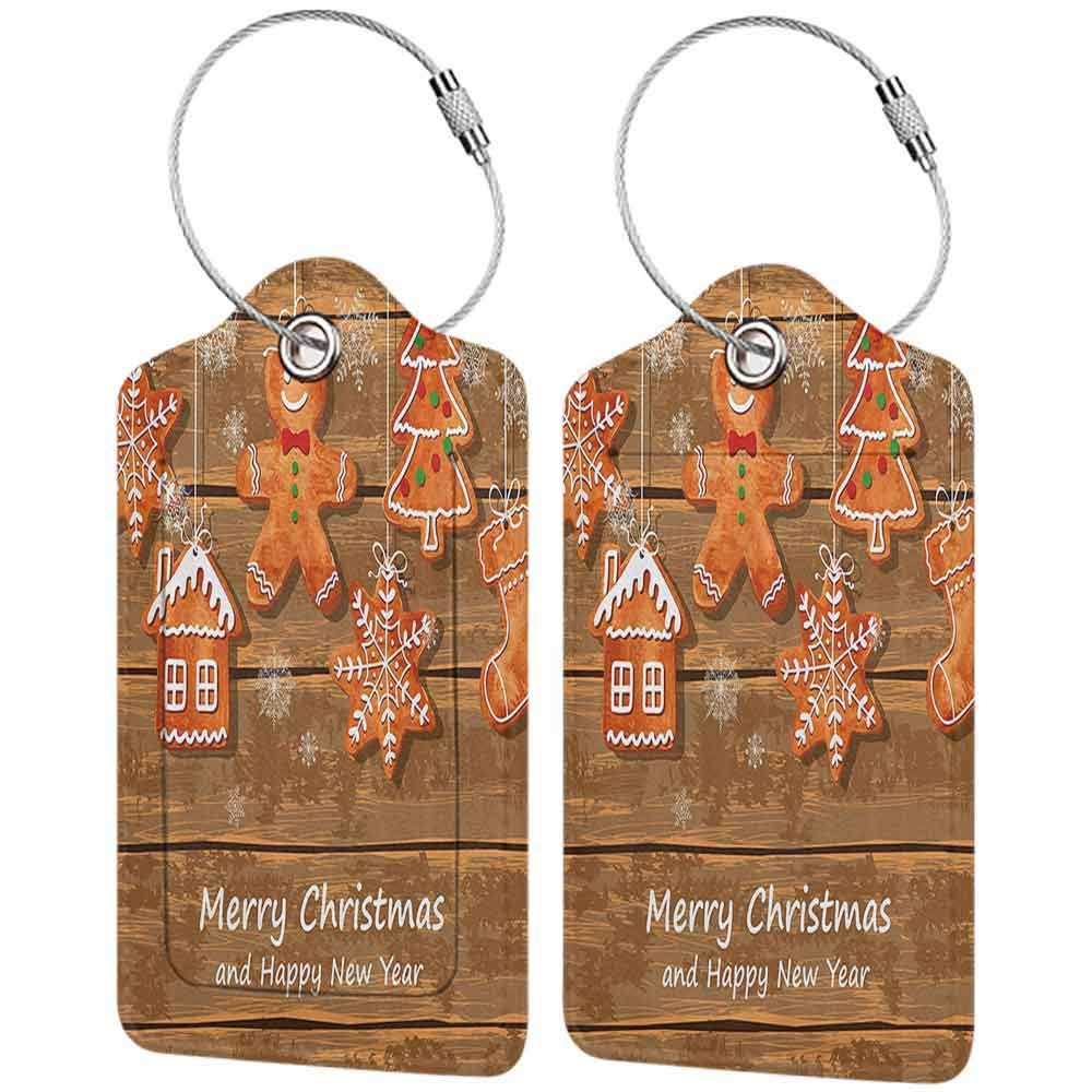 Modern luggage tag Gingerbread Man Funny Watercolor Cookies on Wooden Boards Delicious Xmas Pastry Suitable for children and adults Brown Orange White W2.7 x L4.6