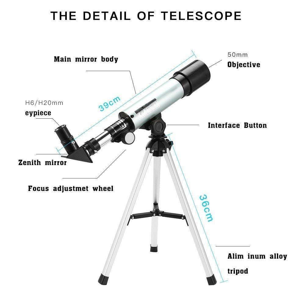 Telescopio Astron/ómico Ultra-Alto Claro 900//60 Telescopio Terrestre Refractor Monocular con Tr/ípode de Aleaci/ón de Aluminio Di/ámetro Mayor Desmontable Portable Uverbon