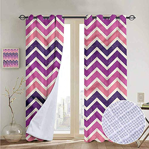 NUOMANAN Bedroom Curtains Purple and Pink,Zig Zag Stripes,Thermal Insulated Room Darkening Window Shade 120