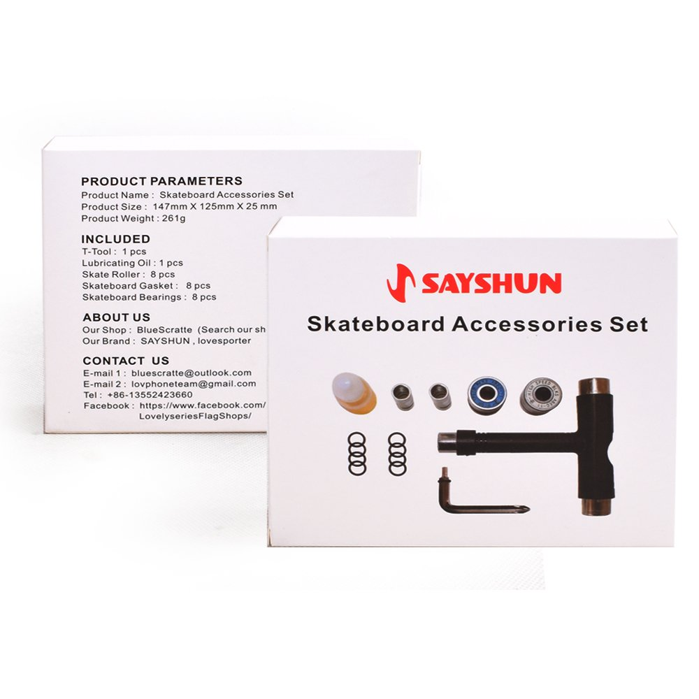 SAYSHUN Skateboard Tools All In One & Skateboard Accessories Set Included T-tool , L Tool ,Bearings And Rollers