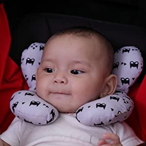 Baby Neck Support Pillow, KAKIBLIN Infant Travel Pillow for Car Seat, Pushchair, Grey