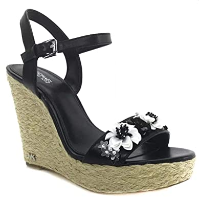 8f707c8d71cd Michael Michael Kors Jill Floral Sequined Leather Wedge Sandals (8.5) Black