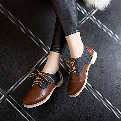 T-july Chaussures Rétro Oxfords Femmes - Confortable Lacets Talon Bas Bout Rond Deux Tons Casual Chaussures Noir