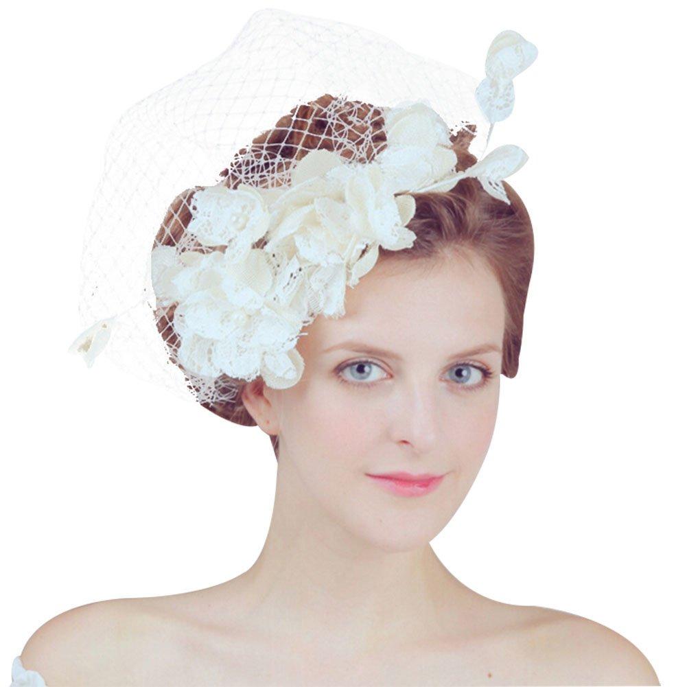 DJHbuy Fascinator Mesh Veil Hair Clip Hat Wedding Bridal Cocktail Party Flower Headpiece