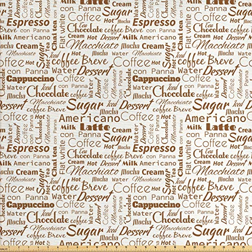 Ambesonne Modern Fabric by The Yard, Coffee Themed Words Macchiato Mocha Americano Breve Dessert Graphic, Decorative Fabric for Upholstery and Home Accents, 1 Yard, Umber and Cream