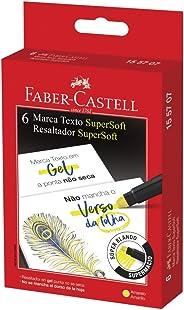 Caneta Marca Texto, Faber-Castell, Textliner Super Gel, 155707, 6 Unidades, Amarelo