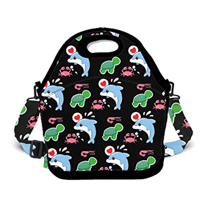 8232c0f562d6d OKAYDECOR Sea Anemone Crab Dolphin Turtle Lunch Bag Insulated Tote Handbag  Lunchbox Food Container Gourmet Tote