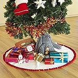 Hffls Christmas Tree Skirt 36 Inch Snow White Short velvet with Christmas Red Pompom Tree Skirt Christmas Decorations Indoor Outdoor