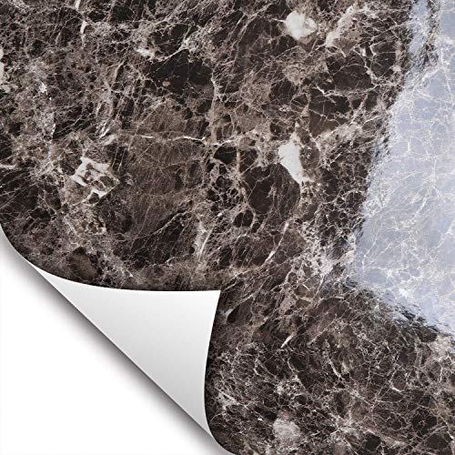 Wallstickery Marble Paper Dark Choco Brown Gloss Granite Stone Pattern Removable Peel Stick Contact on Counter Top Furniture Kitchen Cabinets 6.56 ft X 1.47 ft ()