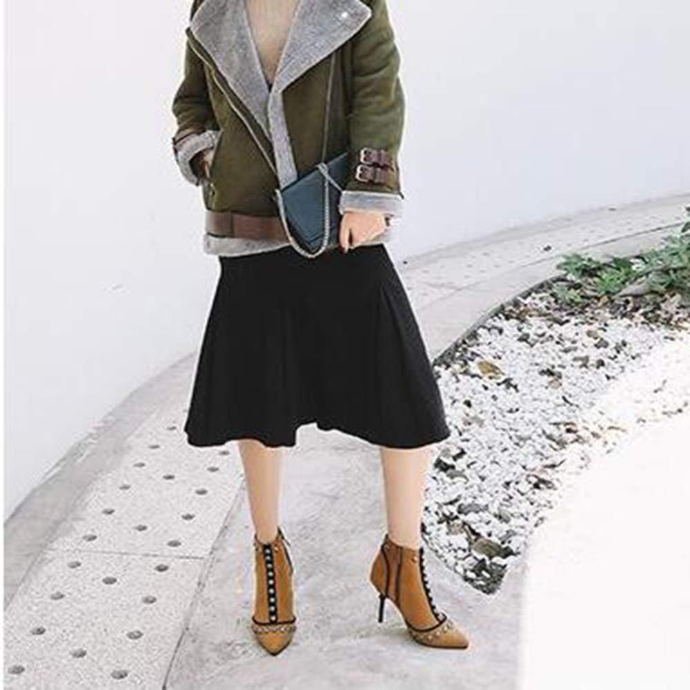 MYXUA Damen Stiefeletten Stiefeletten Stiefeletten Mode Persönlichkeit Nieten Hochhackigen Stiefel 8efead