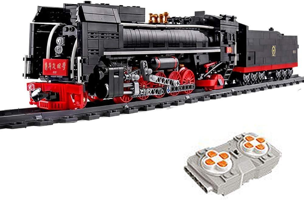 Bloques de construcción de tren histórico Qian Jin con motor, servo y control remoto de 2,4 GHz y accesorios de rieles.