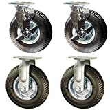 Service Caster - 8'' Black Pneumatic Rubber Wheel – 2 Rigid and 2 Swivel Casters w/Brakes - Set of 4