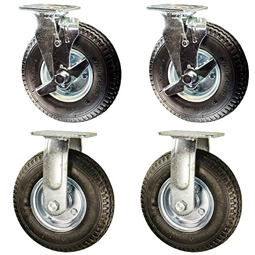 Service Caster - 8'' Black Pneumatic Rubber Wheel – 2 Rigid and 2 Swivel Casters w/Brakes - Set of 4 by Service Caster