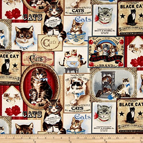 Cream Quilt Fabric (Timeless Treasures Cat Labels Cream Fabric By The Yard)