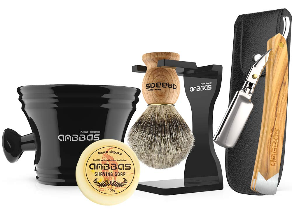 Anbbas Shaving Set with Best Badger Shaving Brush,Stand and Resin Bowl,Shaving Soap 3.5oz,Solid Olive Wood Handle Straight Razor,Leather Shaving Razor Bag,10pcs Blades,7in1 Kit for Men