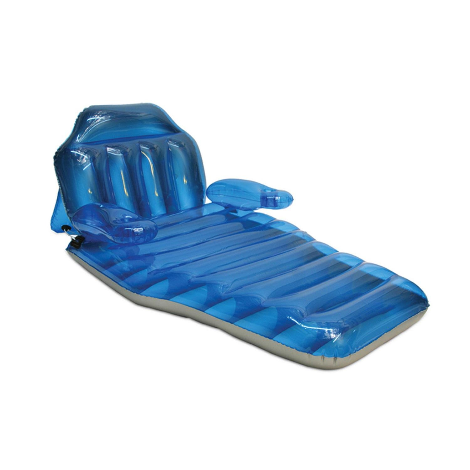 Inflatable Blue Adjustable Floating Swimming Pool Lounger, 80-Inch