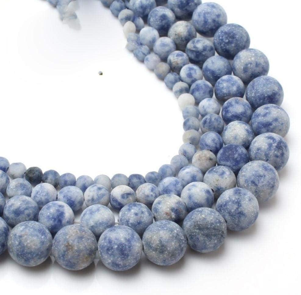Venta al por mayor opaco mate ágatas mate Jada cuentas sueltas redondas para hacer joyas de piedra natural collar de pulsera de bricolaje 4/6/8/10 mm 15 ``, nueva azul sodalita, 6 mm