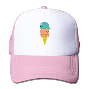 Trucker Narwhal Octopus Ice Cream Adjustable Mesh Back Baseball Cap Pink