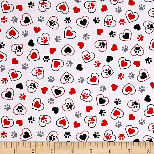 Kanvas Scottish Charm Scotty's in Love White Fabric By The Yard (Scottie Charm Dog)