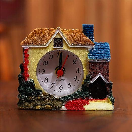 RUANRUAN Pequeño Castillo Reloj Despertador Villa Reloj ...