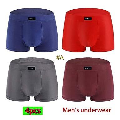 b306dd097 Coverhome Men s 4 Pack Men s Underwear Cotton Boxer Briefs Sexy Underwear  Shorts Underpants Pouch Soft Cotton