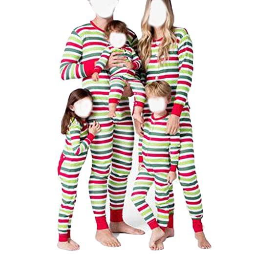 Amazon.com  Matching Family Pajamas PJ Christmas Striped Onesie ... e3beb6360