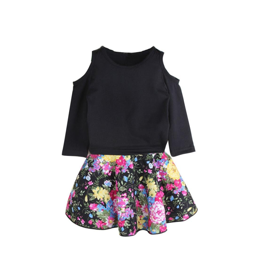 For 1-8 Years old Girls,Clode® Cute Kids Baby Girls Outfit Off Shoulder T-shirt Tops and Floral Short Skirt 2 Pieces Fall Spring Clothes Set Clode-TS-0043