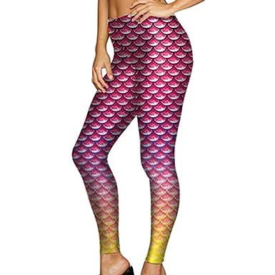 Yying Escama de Pescado Sirena Leggings de Mujer 3D Leggins Leggins de Fitness de impresión Digital: Amazon.es: Ropa y accesorios