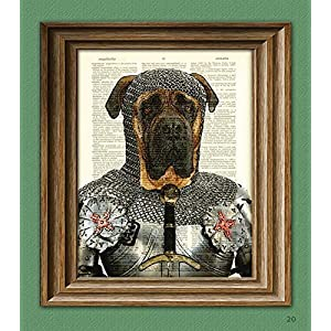 Sir Jowls the English Bullmastiff Dog Knight of the Bark Table in armor Bull Mastiff beautifully upcycled dictionary page book art print 2