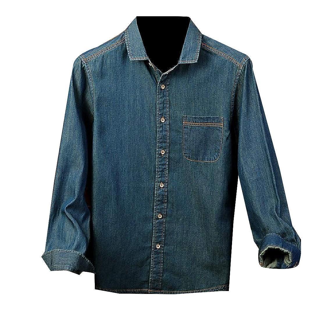 Andopa Men Cotton Denim Spread Collar Classic-Fit Plus-Size Dress Shirt