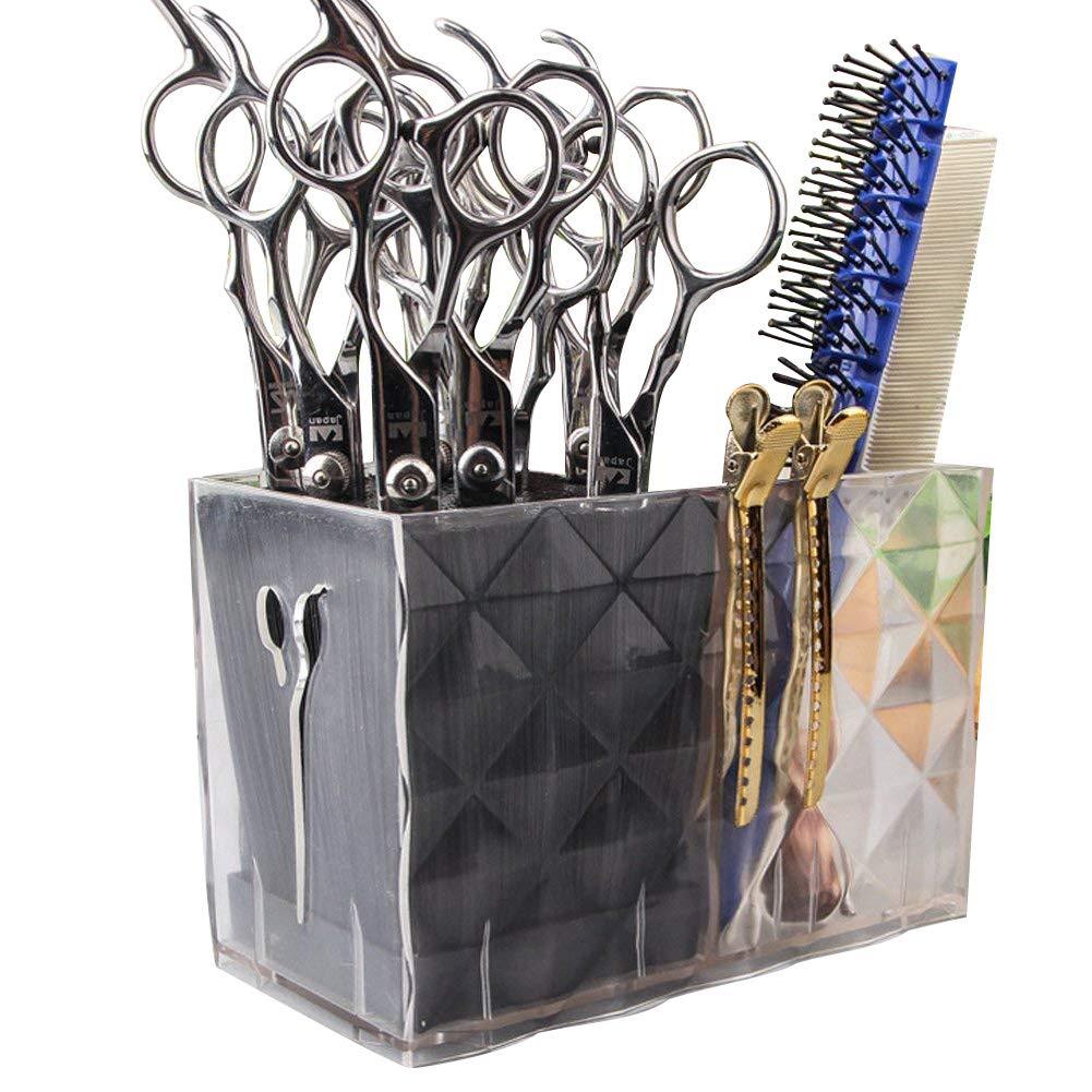 Ozzptuu Long Professional Acylic Salon Scissors Holder Rack Hairdresser Transparent Combs Clips Storage Case Keeper Organizer Desk Organizer for Hair Stylist