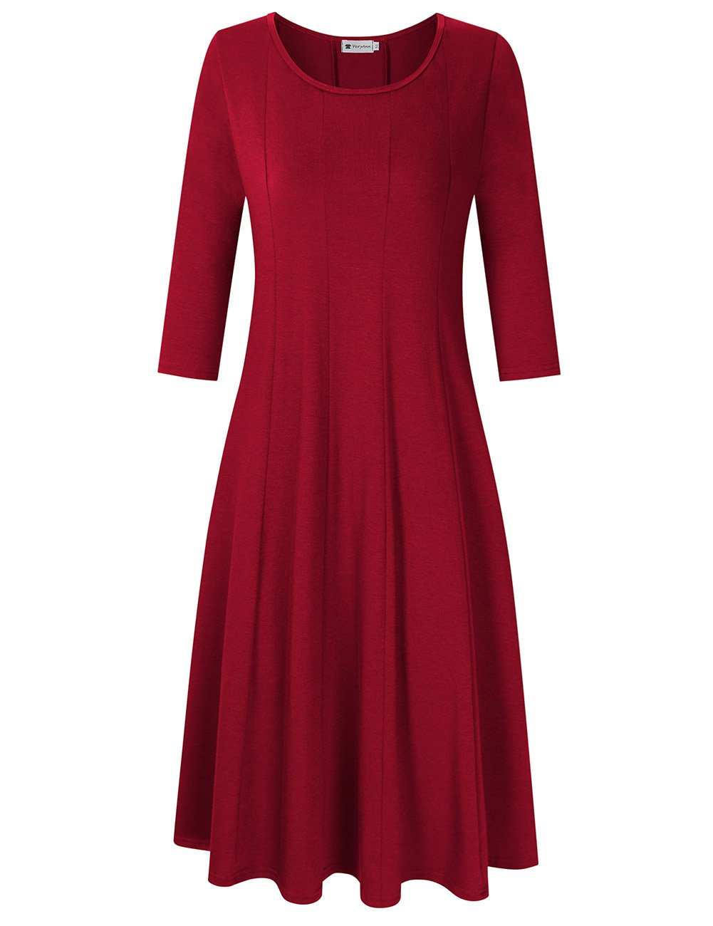 Women's 3/4 Sleeve A-Line Casual Flare Midi Long Dress Wine Red XL by VeryAnn