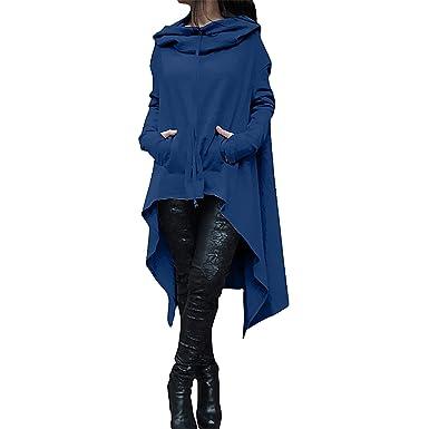 0c920f72 QiuLan Women's Cloak Long Sleeve Asymmetrical Hem Pullover Sweatshirts  Loose Solid Color Tunic Tops Hoodies: Amazon.co.uk: Clothing